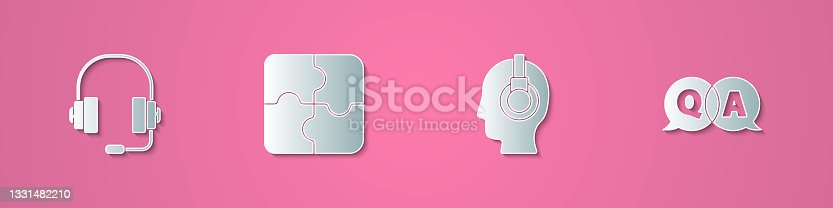 istock Set paper cut Headphones, Piece of puzzle, Support operator in touch and Question and Answer icon. Paper art style. Vector 1331482210