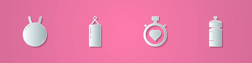 Set paper cut Kettlebell, Punching bag, Heart the center stopwatch and Fitness shaker icon. Paper art style. Vector