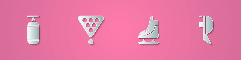 Set paper cut Punching bag, Billiard balls rack triangle, Skates and Fencing helmet mask icon. Paper art style. Vector