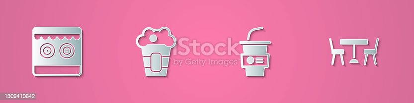 istock Set paper cut Shooting gallery, Popcorn box, Paper glass with water and Picnic table chairs icon. Paper art style. Vector 1309410642