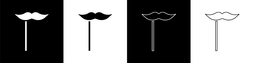Set Paper mustache on stick icon isolated on black and white background. Concept with cardboard carnival mask. Mask for a photo shoot. Vector Illustration