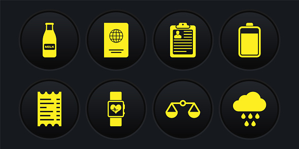 Set Paper or financial check, Battery, Smart watch heart beat rate, Scales of justice, Clipboard with resume and Passport icon. Vector