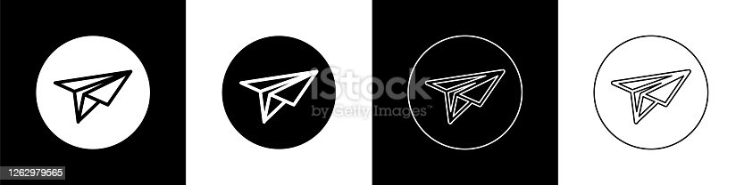 istock Set Paper plane icon isolated on black and white background. Paper airplane icon. Messenger concept. Vector Illustration 1262979565