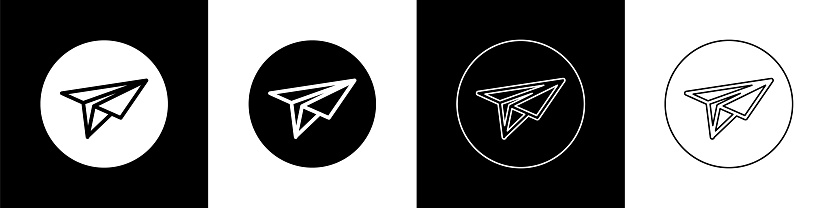 Set Paper plane icon isolated on black and white background. Paper airplane icon. Messenger concept. Vector Illustration