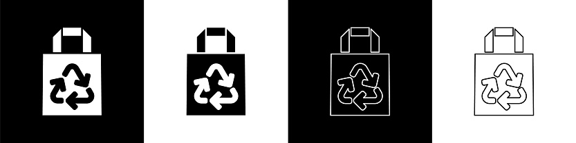 Set Paper shopping bag with recycle icon isolated on black and white background. Bag with recycling symbol. Vector Illustration