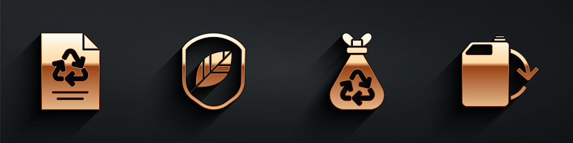Set Paper with recycle, Shield with leaf, Garbage bag with recycle and Eco fuel canister icon with long shadow. Vector