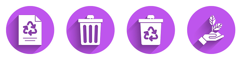 Set Paper with recycle, Trash can, Recycle bin with recycle and Plant in hand icon with long shadow. Vector