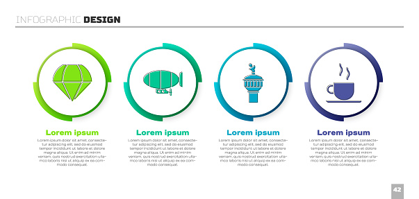 Set Parachute, Airship, Radar and Coffee cup. Business infographic template. Vector