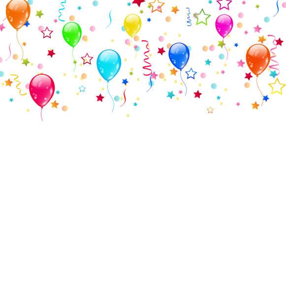 bildbanksillustrationer, clip art samt tecknat material och ikoner med set party balloons, confetti with space for text - vind naturföreteelse
