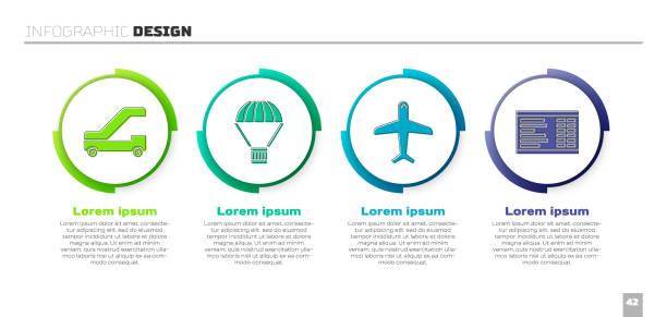 비행기 탑승을위한 승객 사다리를 설정, 낙하산, 비행기 및 공항 보드에 비행 상자. 비즈니스 인포그래픽 템플릿입니다. 벡터 - 낙하산 항공 비행체 stock illustrations