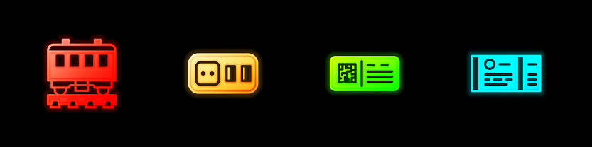 Set Passenger train cars, Electrical outlet, QR code ticket and Train icon. Vector