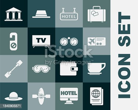 istock Set Passport, Coffee cup, Airline ticket, Signboard with text Hotel, Smart Tv, Please do not disturb, Museum building and Binoculars icon. Vector 1340903371