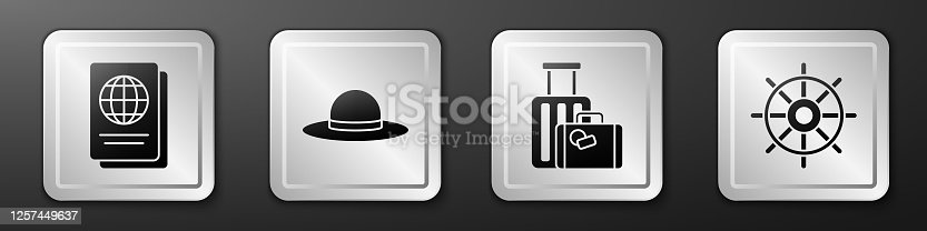 istock Set Passport, Elegant women hat, Suitcase and Ship steering wheel icon. Silver square button. Vector 1257449637