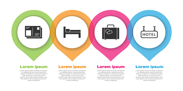 Set Passport with visa stamp, Bed, Suitcase and Signboard with text Hotel. Business infographic template. Vector