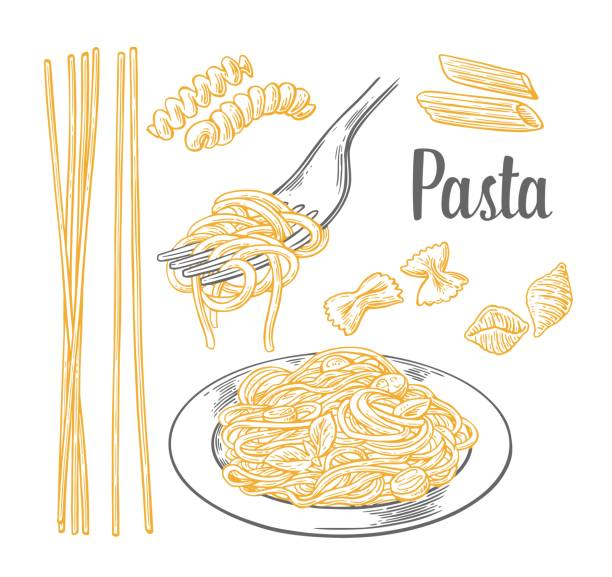 illustrazioni stock, clip art, cartoni animati e icone di tendenza di set pasta - farfalle, conchiglie, penne, fusilli and spaghetti on fork. - pasta