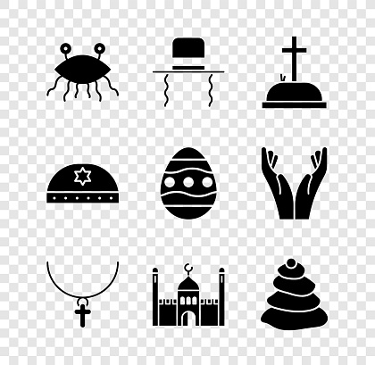 Set Pastafarianism, Orthodox jewish hat with sidelocks, Tombstone cross, Christian chain, Muslim Mosque, Stack hot stones, Jewish kippah star of david and Easter egg icon. Vector