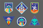 Set patches or sticker on space topic
