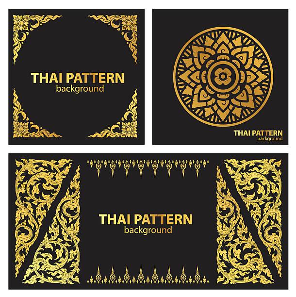 zestaw wektor wzór linii tajski - tajlandia stock illustrations