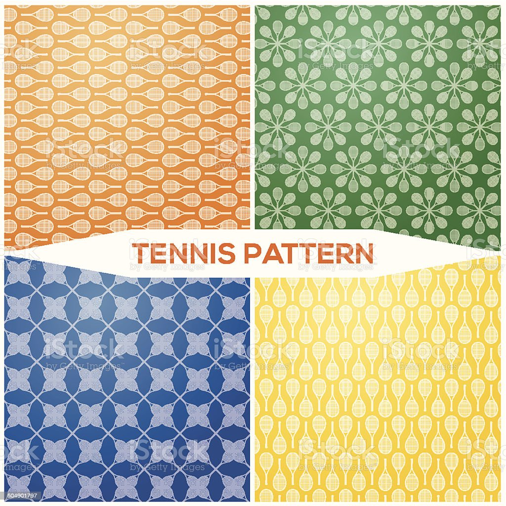 Set pattern tennis racket vector art illustration