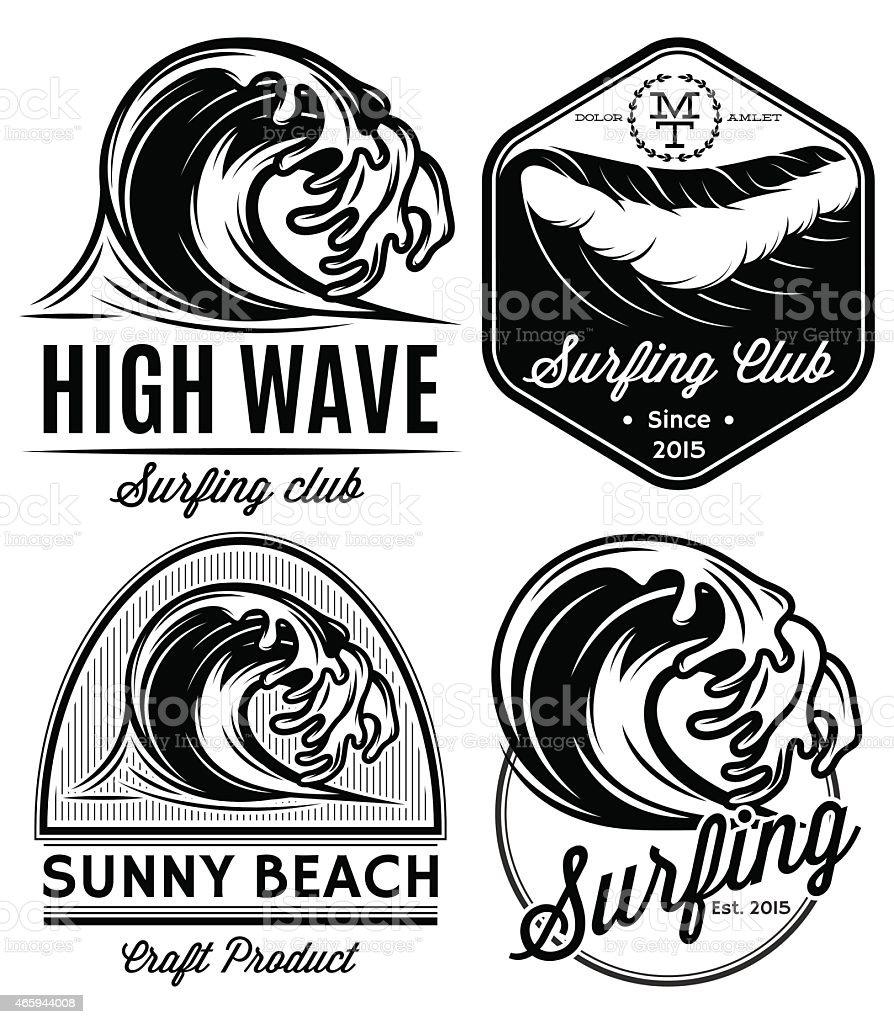 set patterns for logos on theme water, surfing, ocean, sea vector art illustration