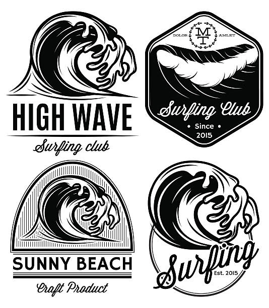 set patterns for logos on theme water, surfing, ocean, sea vector art illustration