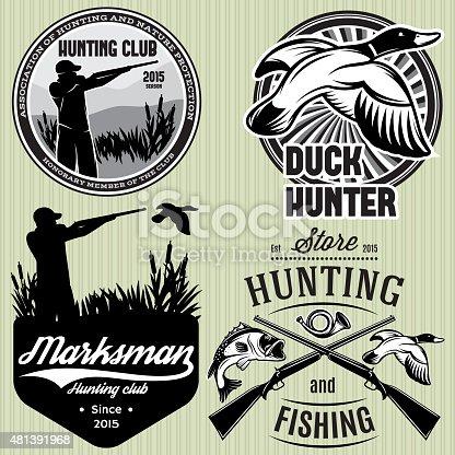 set of vector patterns with duck, dip, gun, hunter for hunting emblem