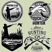set patterns with duck, dip, gun, hunter for hunting emblem
