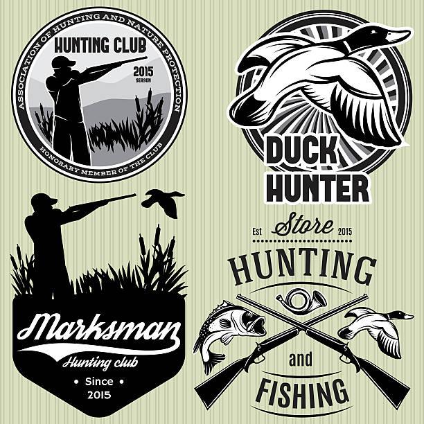 set patterns with duck, dip, gun, hunter for hunting emblem set of vector patterns with duck, dip, gun, hunter for hunting emblem duck bird stock illustrations