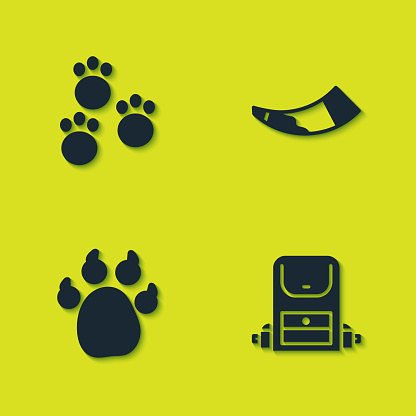 Set Paw print, Hiking backpack, and Hunting horn icon. Vector