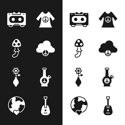 Set Peace cloud, Psilocybin mushroom, Retro audio cassette tape, dress print stamp, Flower vase, Bong, Guitar and The heart world - love icon. Vector