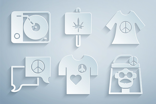 Set Peace t-shirt print stamp, dress, Speech bubble chat, Hippie girl, Marijuana and Vinyl player icon. Vector