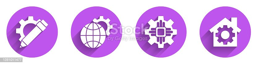 Set Pencil and gear, Globe of the Earth and gear, Processor and House with gear icon with long shadow. Vector