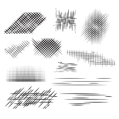 Set pencil strokes, halftone, engraving.