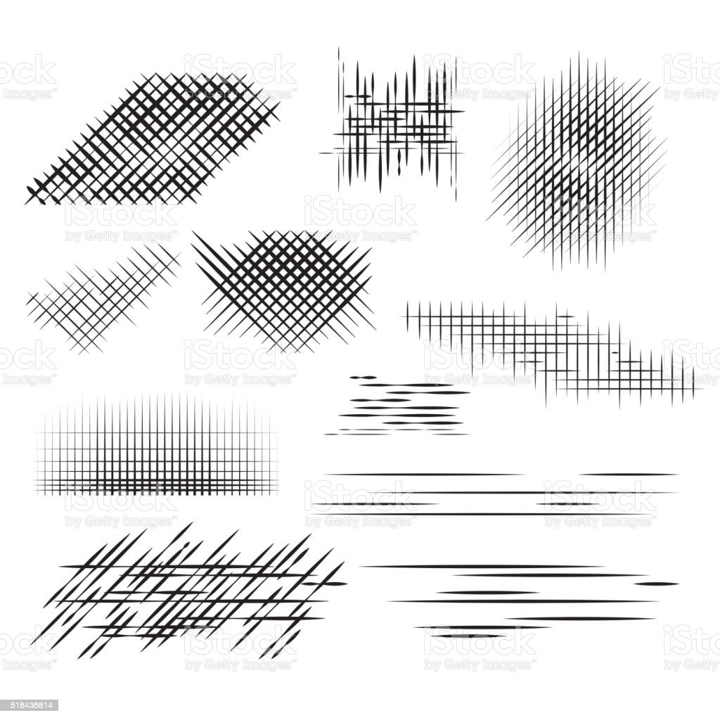 Set pencil strokes, halftone, engraving. vector art illustration