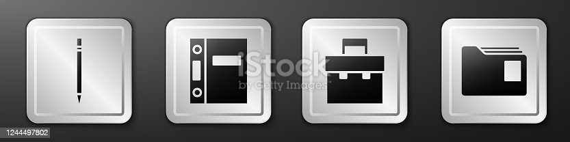 istock Set Pencil with eraser, Office folders, Briefcase and Document folder icon. Silver square button. Vector 1244497802