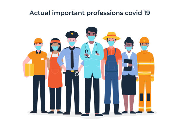 set people actual important professions covid 19 - essential workers stock illustrations