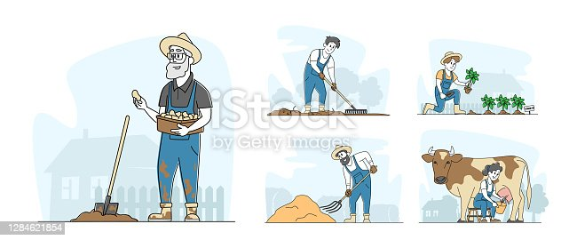 istock Set People Doing Farming Job and Care Domestic Animals, Milking Cow, Prepare Hay for Livestock. Male and Female Farmers 1284621854
