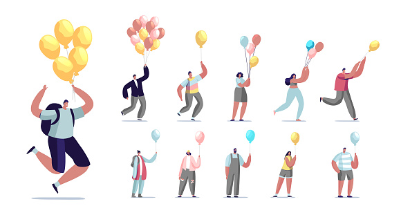 Set of People Flying with Air Balloon. Male and Female Characters Career Growth and Escaping Crisis. Inspiration, Progress, Creative Solution Isolated on White Background. Cartoon Vector Illustration