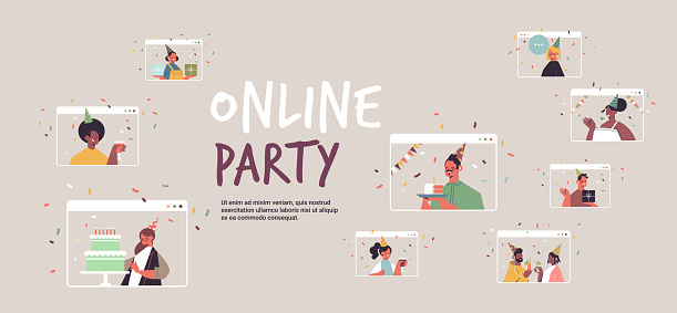 set people in festive hats celebrating online birthday party mix race men women in computer windows