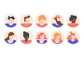 Set people profiles avatars with male and female faces. Vector flat.