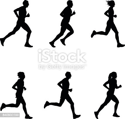 set people running marathon black silhouette