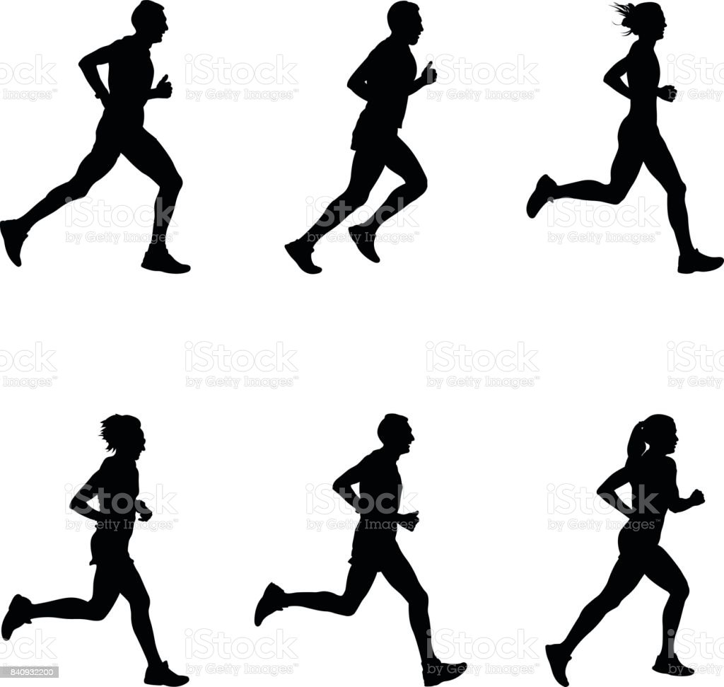 set people running vector art illustration