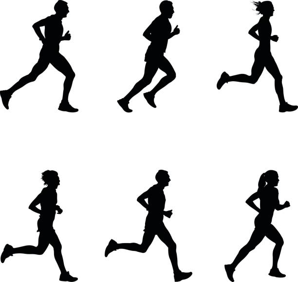 set people running - running stock illustrations