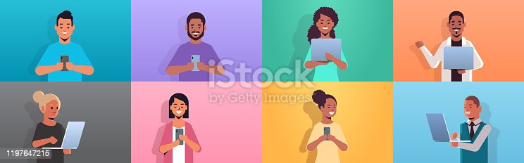set people using digital devices mix race men women holding smartphones and laptops social media communication concept cartoon characters collection portrait horizontal vector illustration