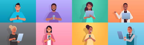디지털 장치를 사용하여 사람들을 설정 하는 인종 남자 스마트폰및 노트북 소셜 미디어 통신 개념 만화 캐릭터 컬렉션 초상화 수평을 들고 여자 - 가공의 인물 stock illustrations