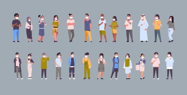 bildbanksillustrationer, clip art samt tecknat material och ikoner med ställ människor bär ansiktsmasker miljö industriella smog damm giftiga luftföroreningar och virusskydd koncept mix race män kvinnor insamling full längd horisontell platt - helkroppsbild