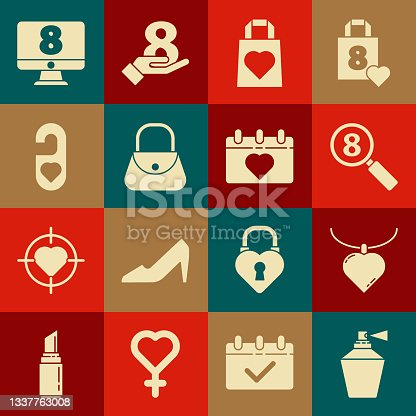 istock Set Perfume, Necklace with heart shaped pendant, Search 8 March, Shopping bag, Handbag, Please do not disturb, on monitore and Calendar icon. Vector 1337763008