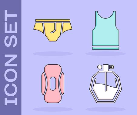 Set Perfume, Underwear, Sanitary napkin and Sleeveless T-shirt icon. Vector