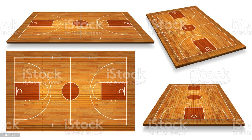 Set Perspective Basketball court floor with line on wood texture background. Vector illustration vector art illustration