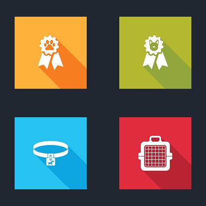 Set Pet award symbol, Dog, collar and carry case icon. Vector